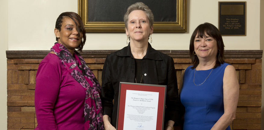 Womens global health certificate program (l. to r.) Mary Hawkesworth, Monique Gregory, and Mary Kiefer