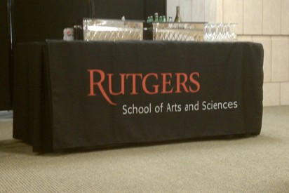 Black Table Cloth with Scarlet Rutgers Logo