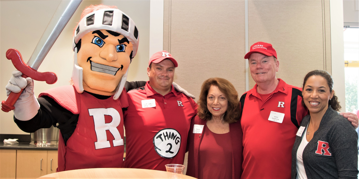 Left to right: Scarlet Knight, Luis Largo GSE'07, Roberta Kanarick DC'64 GSED'92, James Dougherty RC'74 GSNB'75, Lytisha Williams DC'93