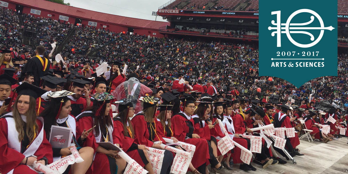 2018 Arts and Sciences Convocation: students sitting in football stadium