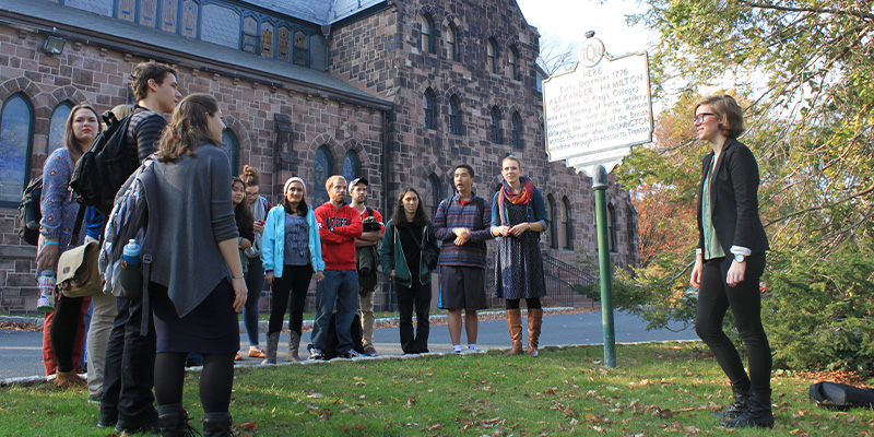 The public history class met outside at the site where the historic marker says Alexander Hamilton held off the British.