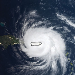 Hurricane Maria over puerto rico